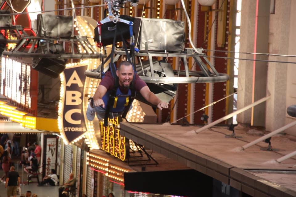 Man ziplining in Las Vegas over the street,   Non-Gamblers Guide to Las Vegas